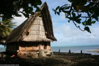 Traditional meeting houses on Yap.